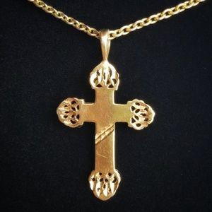 Vintage Italian Brutalist 10KGP Cross Necklace